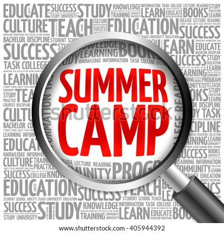 Summer Camp word cloud with magnifying glass, concept - stock photo