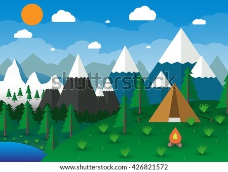 Summer Campsite with a campfire, Lake, Forest, Mountains, Sky, clouds, sun. travel and vacation concept. illustration in flat design - stock photo