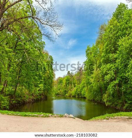 summer city park - stock photo