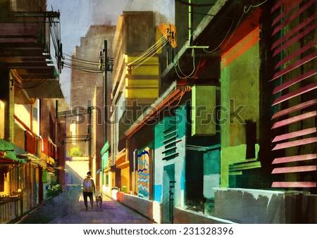 summer cityscape  digital painting - stock photo