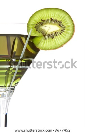 Summer cocktail decorated with a slice of kiwi - stock photo