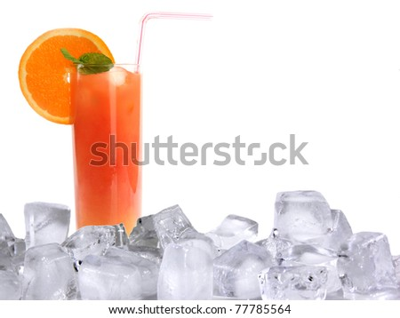 Summer cocktail with ice cubes - stock photo