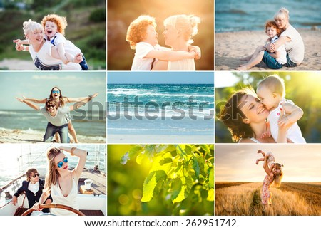 summer collage of happy people having fun outside, love concept - stock photo