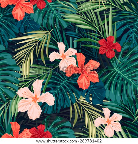 Summer colorful hawaiian seamless pattern with tropical plants and hibiscus flowers,  illustration - stock photo