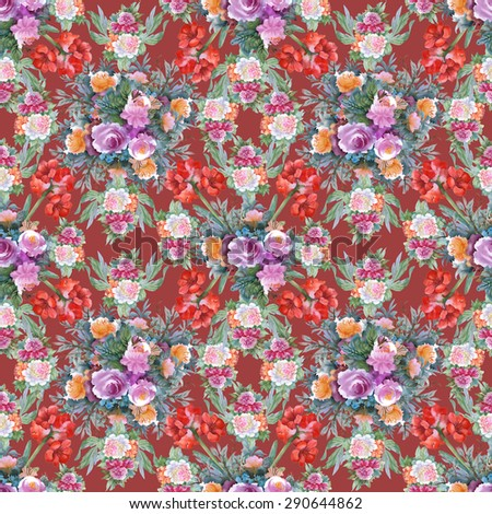 Summer Colorful Hippeastrum and roses floral watercolor Seamless pattern on purple background