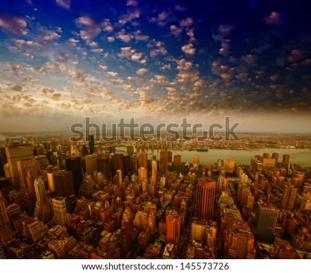 Summer colors of Manhattan Skyscrapers from the Empire State Building. - stock photo