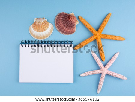 summer concept background with notebook and starfis - stock photo