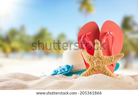 Summer concept with sandy beach, shells and red sandals - stock photo