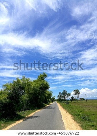Summer country road under the sunlight with trees on the side and blue sky with white clouds - stock photo