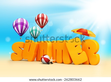 Summer 3D Dimensional Texts Standing in Beach Sand with Sky and Sun Rays Background with Flying Colorful Balloons, Umbrella, Starfish, Sunglasses and Beach Ball Illustration - stock photo