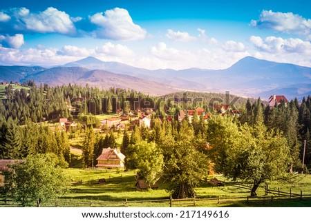 summer day in the mountains. Carpathian, Ukraine, Europe. - stock photo