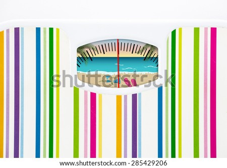 Summer diet concept with bathroom scale and beach on the dial  - stock photo