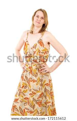 Summer dressed woman in best age - stock photo