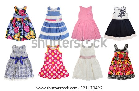 Summer dresses for little  girls isolated on white.