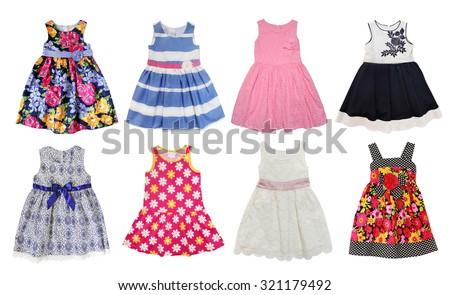 Summer dresses for little  girls isolated on white. - stock photo