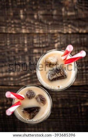 summer drink iced coffee with milk - stock photo