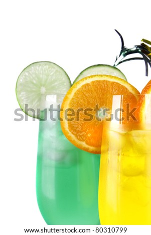 Summer drinks isolated on white background - stock photo