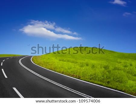 Summer empty road - stock photo