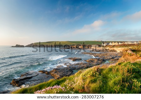 Summer evening at Trevone Bay near Padstow in Cornwall - stock photo
