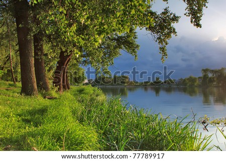 Summer Evening on the Lake - stock photo