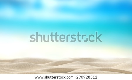 Summer exotic sandy beach with blur sea on background - stock photo