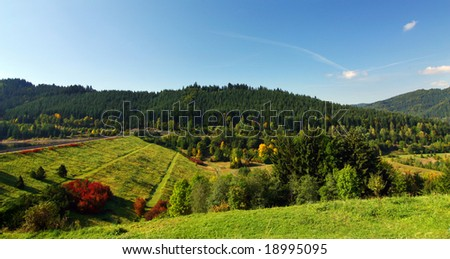 Summer/fall countryside with blue sky