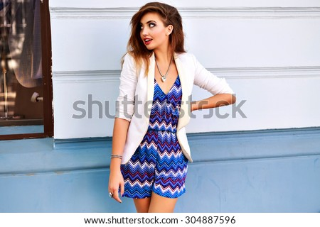 Summer fashion portrait of elegant sexy woman, wearing luxury trendy cute outfit, bright,make up, brunette hairs, posing travel alone at city center of Europe, joy,vacation. - stock photo