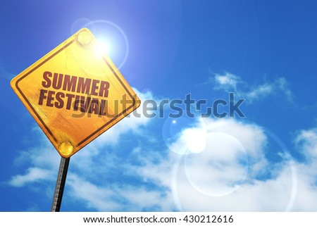 summer festival, 3D rendering, glowing yellow traffic sign  - stock photo