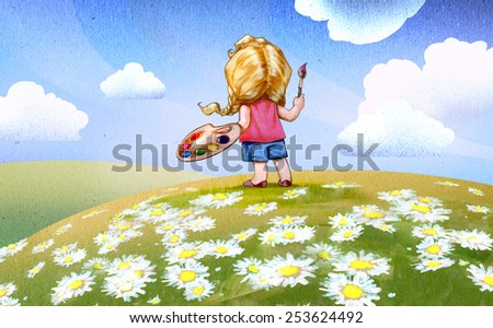 Summer fields with chamomile blooming and a girl going to draw this landscape - stock photo