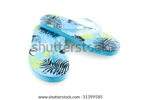 Summer flip flops isolated on white background - stock photo