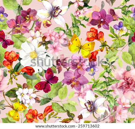 Summer flowers and butterflies. Ditsy vivid floral pattern. Watercolor - stock photo