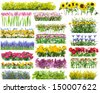 Summer flowers bed and floral borders set collage. All full size images You can find in my portfolio - stock photo