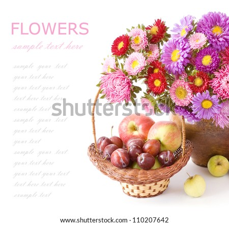 Summer flowers bunch with apple and plum basket isolated on white background with sample text - stock photo