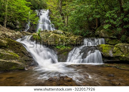 Summer foliage at Spruce Flats Falls in the Great Smoky Mountain National Park. - stock photo