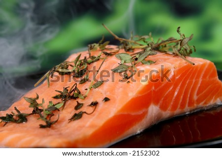 Summer food, rose colored fish steak in a wine marinade macro closeup - stock photo