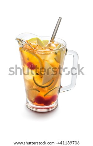 Summer fresh coctail on a white isolated background