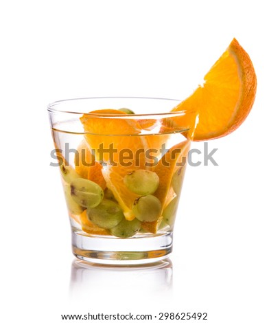 Summer fresh fruit Flavored infused water mix of orange and grape isolated over white background