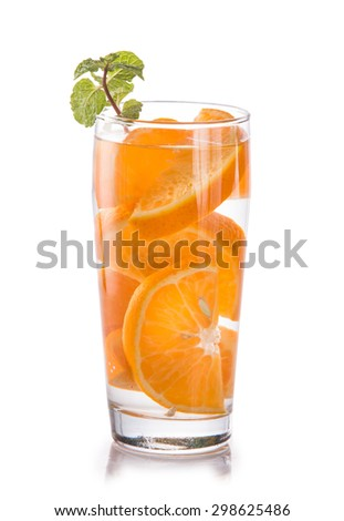 Summer fresh fruit Flavored infused water mix of orange citrus isolated over white background
