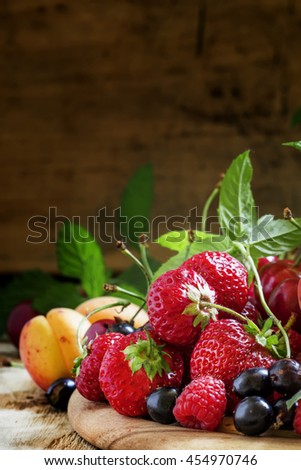Summer fruit and berries, selective focus - stock photo