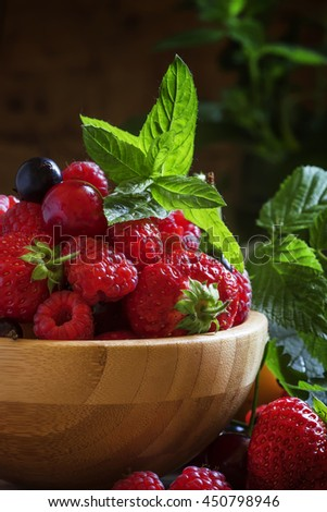 Summer fruit and berry, vintage wooden background, selective focus - stock photo