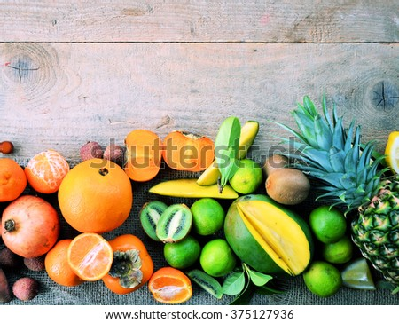 summer fruit background , fresh food market ,on wooden background, with space for text or logo - stock photo
