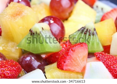 Summer fruit salad - stock photo