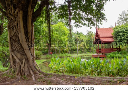 Summer garden  view with pond and Thailand pavilion - stock photo