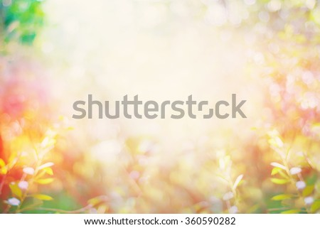 Summer Garden with Light Boke. Blurred Nature Abstract Background - stock photo