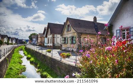 summer Germany village in Baden-Baden region  - stock photo