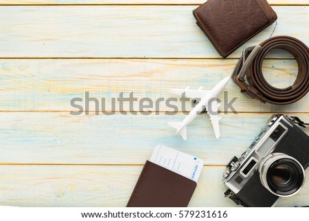 summer wooden table summer holiday background travel vacation items stock photo