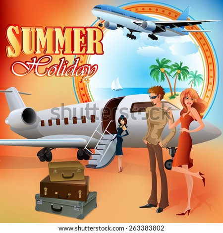 Summer Holiday design template;Young tourists preparing for journey; Exotic landscape in medallion; Suitcases and airplane ready  to go.   - stock photo