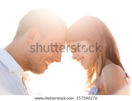 summer holidays, children and people concept - happy father and child girl having fun - stock photo