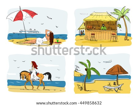 Summer holidays on a beach concept illustration. Woman on sand under umbrella next to sea. Horse riding. Bar on a beach.