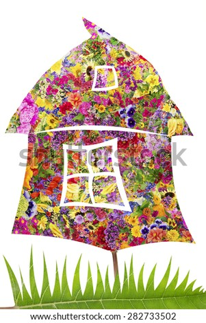 Summer house concept  made from fresh summer flowers. Isolated collage - stock photo